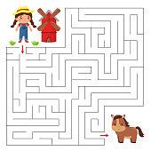 Help the farmer girl find right way to the horse. Cute cartoon kawaii character.