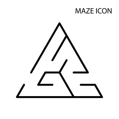 Maze game icon,black triangle labyrinth isolated on white background