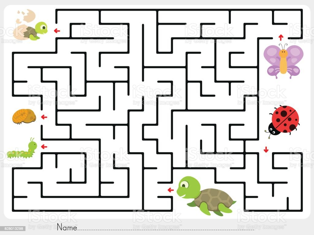 worksheet Maze Worksheet maze game match animal butterfly ladybug and turtle finding the baby worksheet for