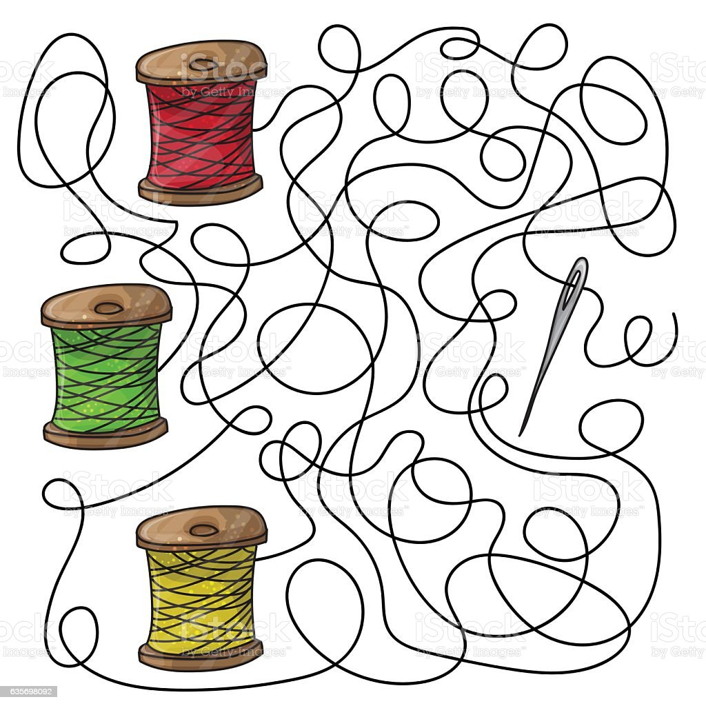 Maze game needle and spools of thread royalty-free maze game needle and spools of thread stock vector art & more images of abstract
