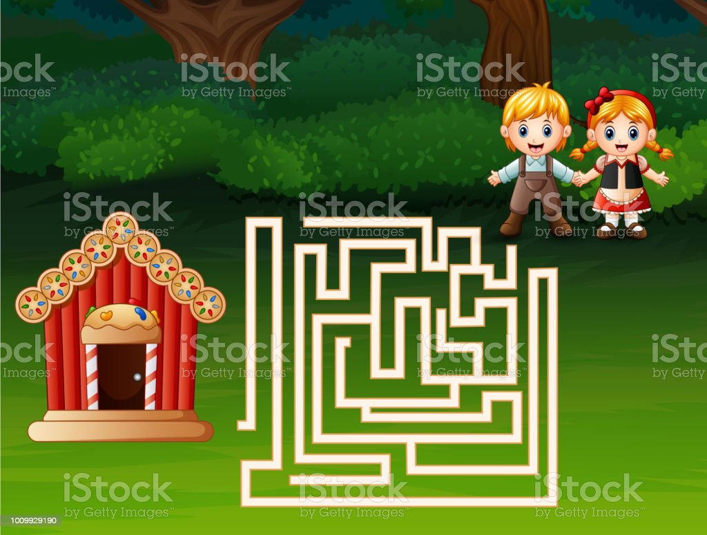 Labyrinthspiel Von Hänsel Und Gretel Finden Einen Weg Zur ...