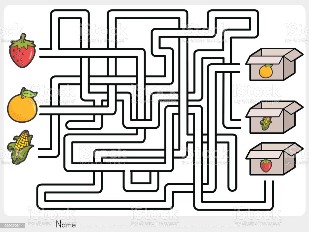 Labyrinth Spiel Wählen Sie Früchte Box Arbeitsblatt Für Bildung ...