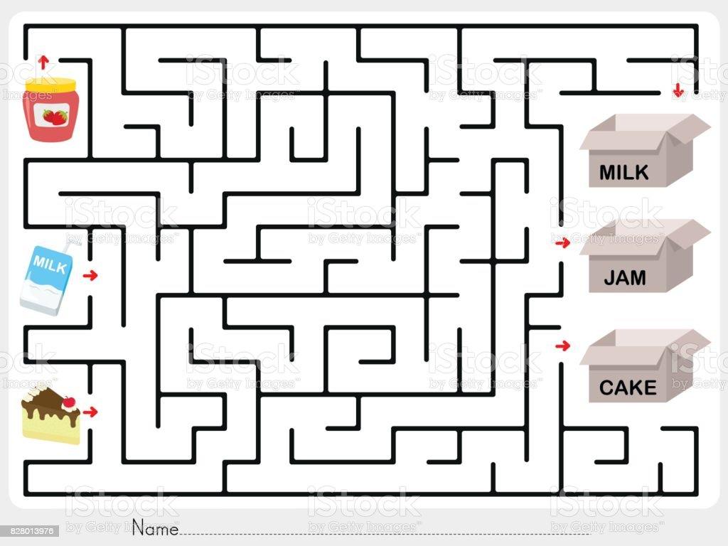 Maze game: Pick jam, milk and cake to box - worksheet for education vector art illustration