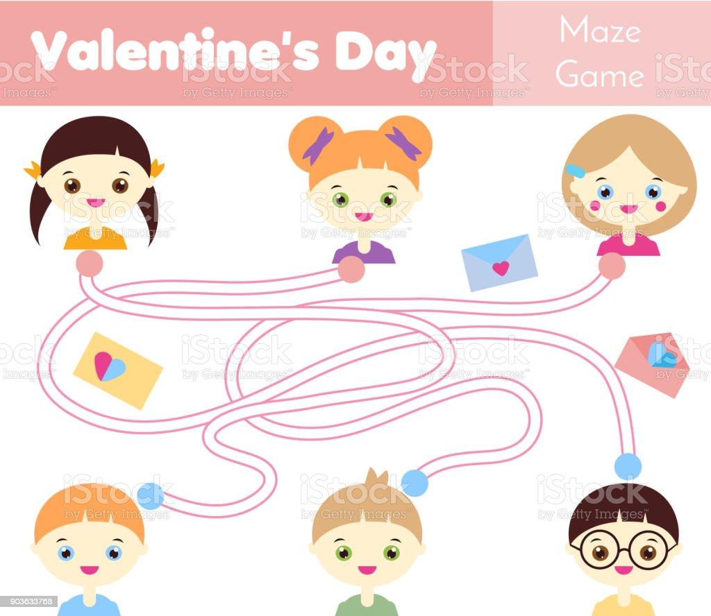 Ilustración de Juego Del Laberinto Tema Del Día De San Valentine ...