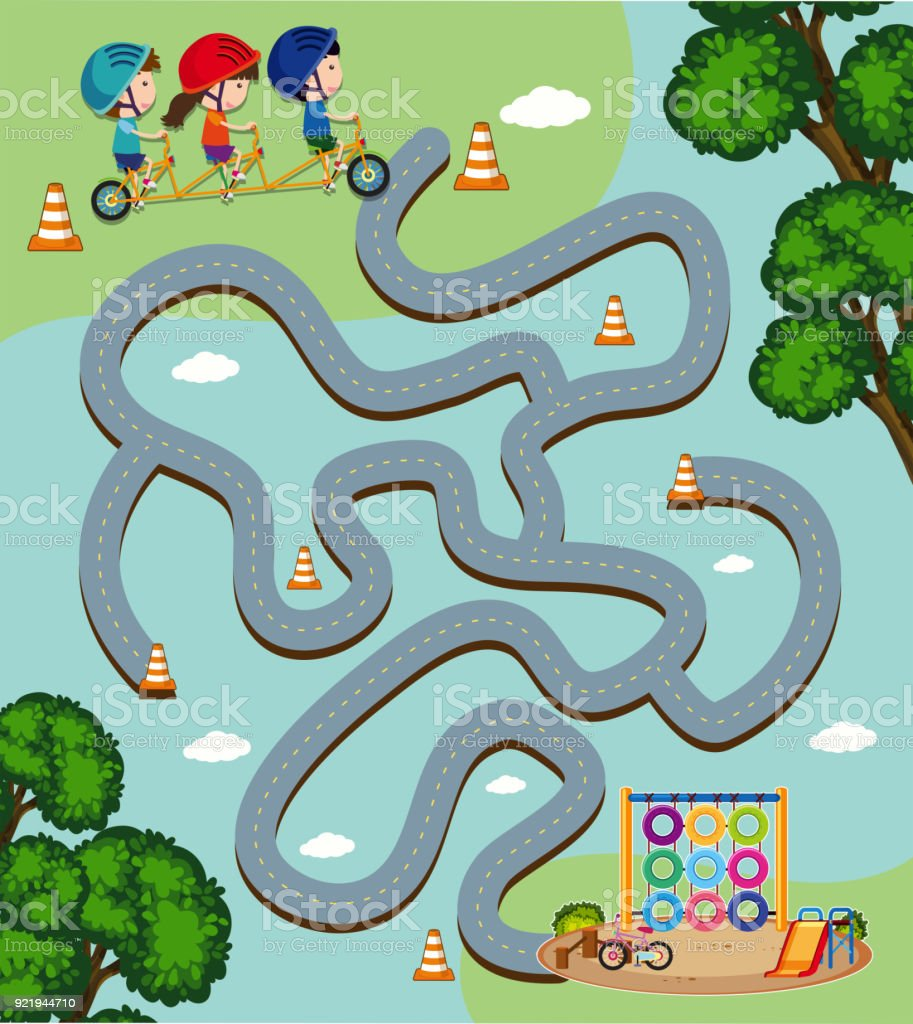 Labyrinth Spiel Vorlage mit Kinder Fahrrad – Vektorgrafik
