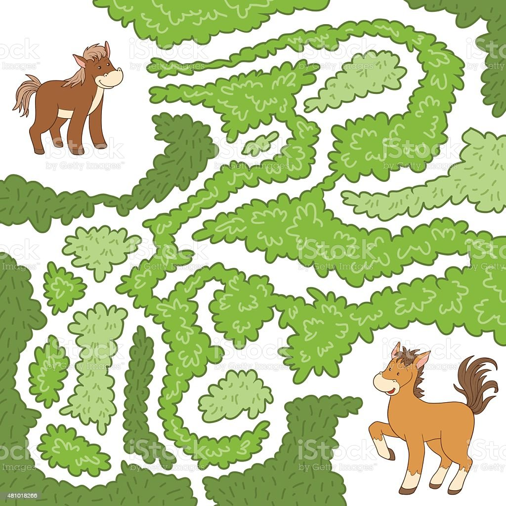 Maze game (horse family) vector art illustration