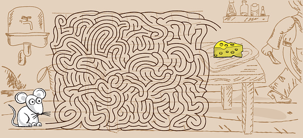 Maze game with a mouse and a piece of cheese. Doodle style.