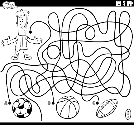 maze game with boy and sport balls coloring page
