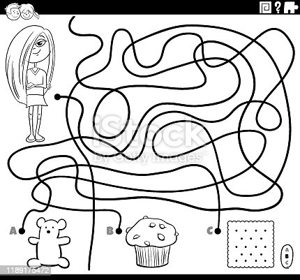 maze game with girl and sweets coloring page