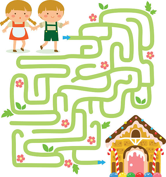 Maze game with Hansel and Gretel vector art illustration