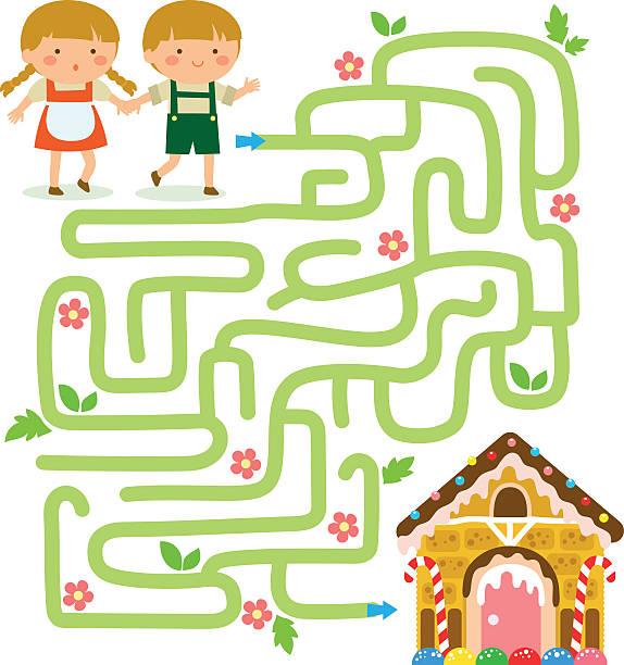 maze game with hansel and gretel - labyrinthgarten stock-grafiken, -clipart, -cartoons und -symbole