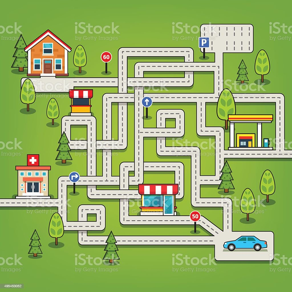Maze game with roads, car, home, tree, gas station vector art illustration