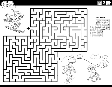 maze game with skiing girls coloring book page