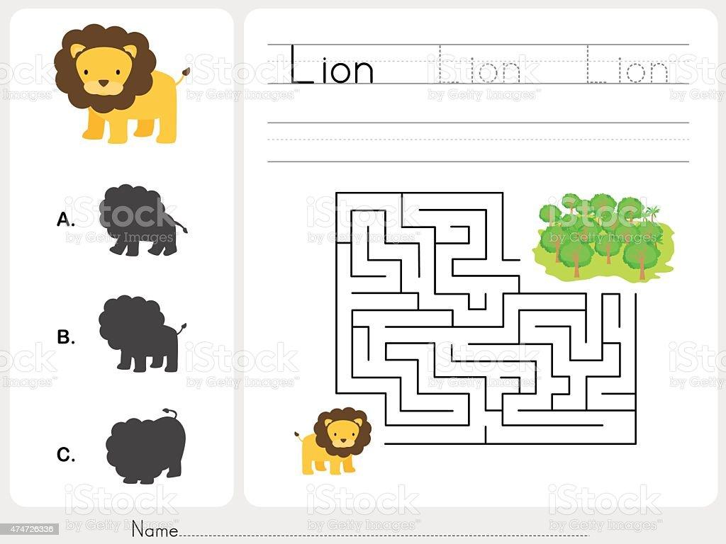 Maze game - Worksheet for education vector art illustration
