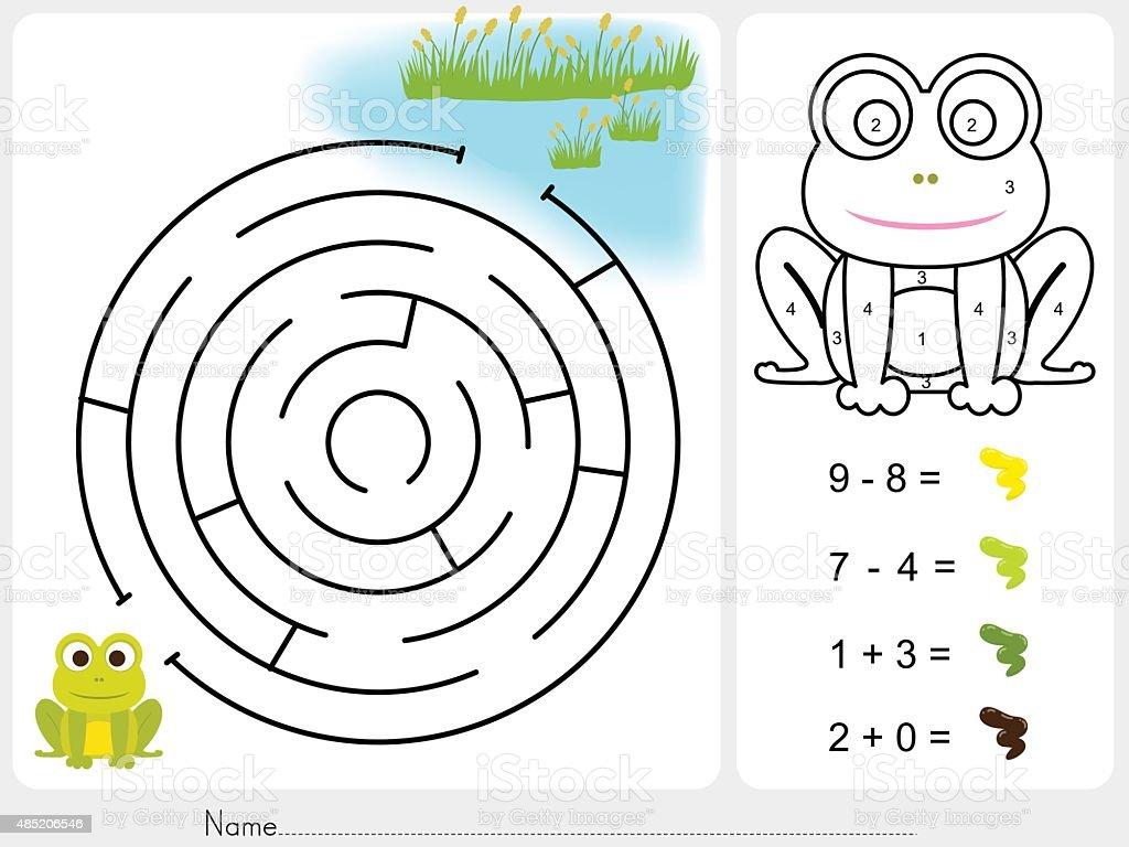 Ilustración de Maze Partido Pintura Color Por Número De Hoja De ...