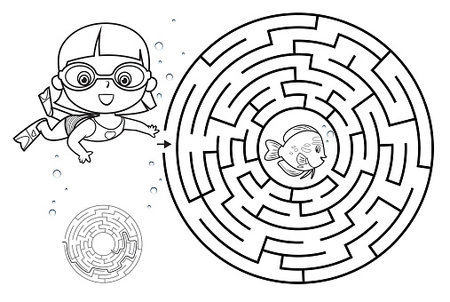 Maze girl diving under the sea