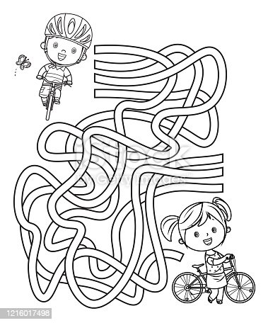 Vector Maze, Happy kids on bicycles
