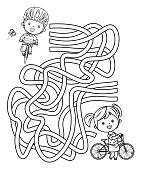istock Maze, Happy kids on bicycles 1216017498