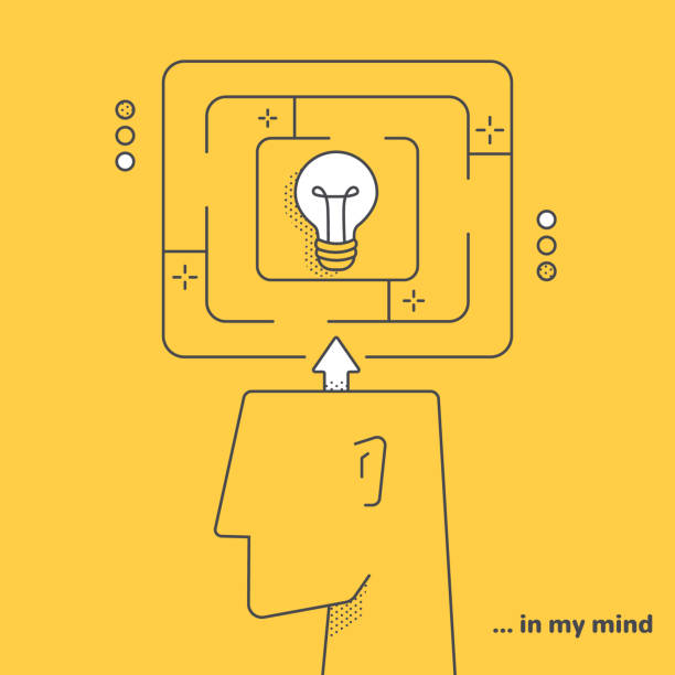 maze in head vector art illustration
