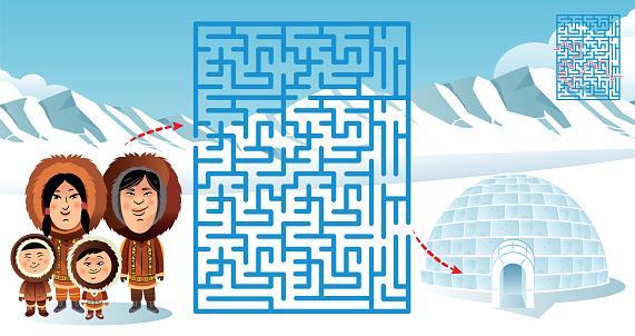Maze, Inuit family and Igloo