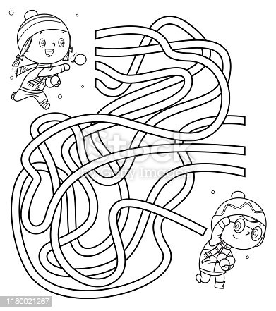 istock Maze, Kids Playing With Snowball 1180021267