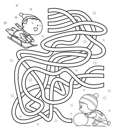 Maze, kids sliding and making snowmen