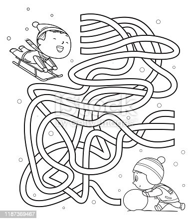 istock Maze, kids sliding and making snowmen 1187369467