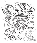 istock Maze, kids sliding and making snowmen 1187369467
