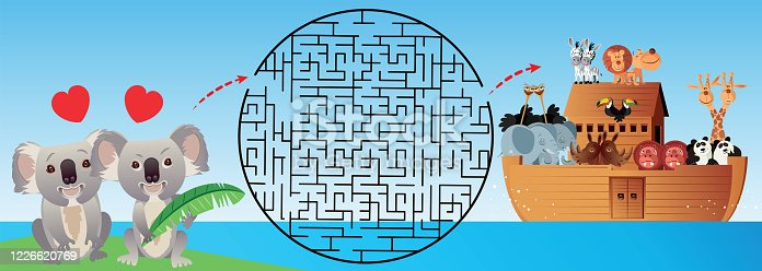 Vector Koala and Noah Ark maze