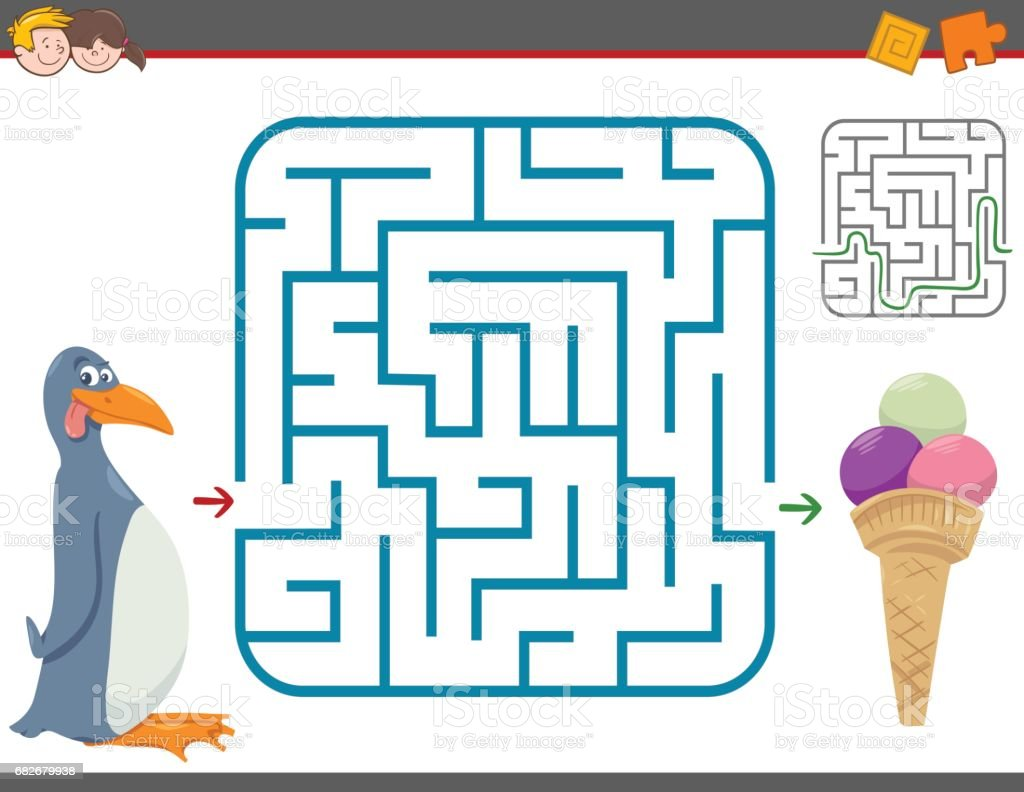 maze leisure game with penguin vector art illustration