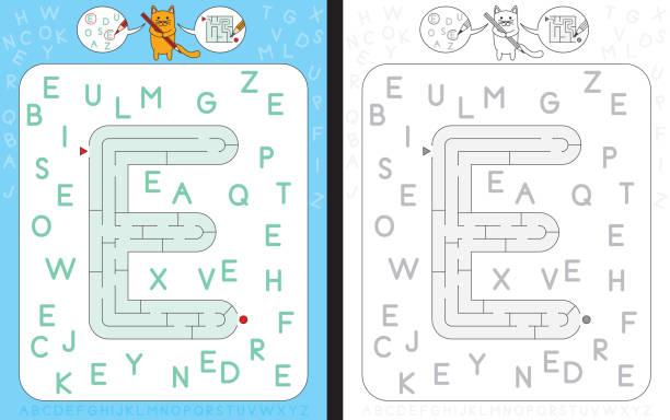 illustrations, cliparts, dessins animés et icônes de lettre e de labyrinthe - enseignant(e) en maternelle