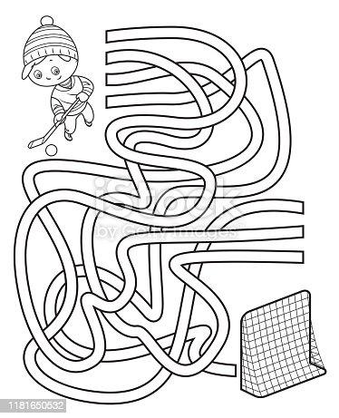 Vector Maze, Little boy playing ice hockey