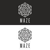 Maze logo cube illusion, thin line labyrinth symbol technology icon, rebus black and white insignia