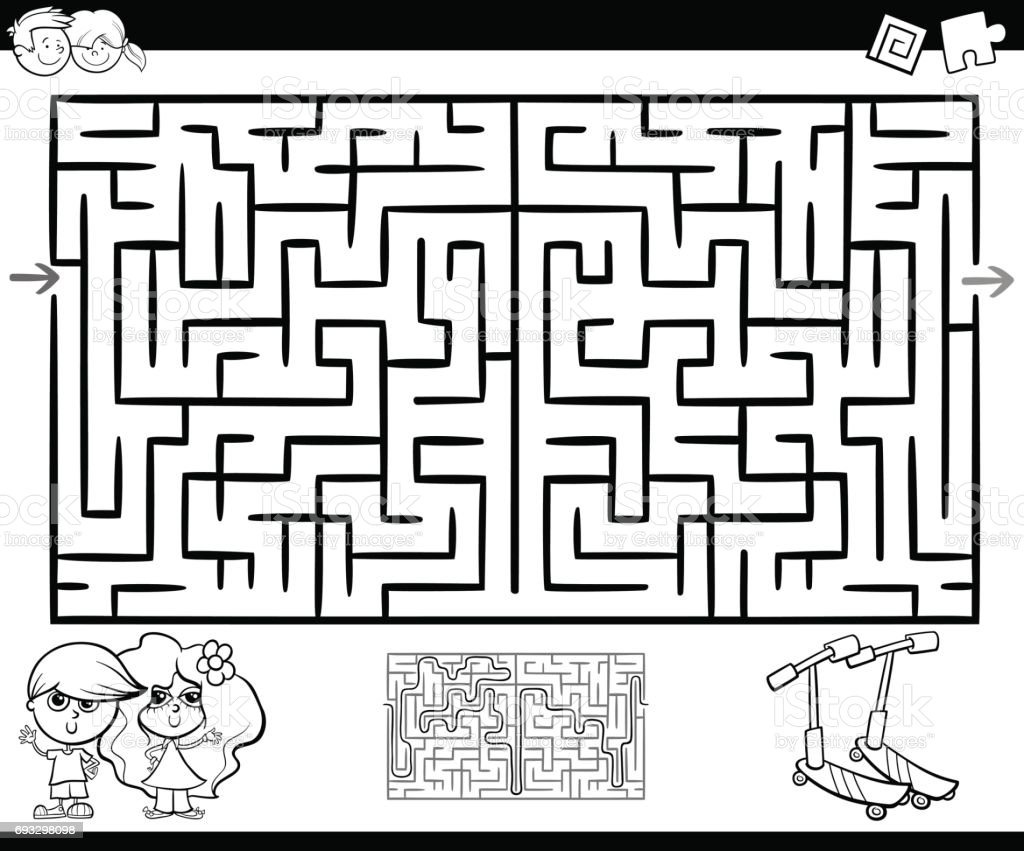 Fabulous Pac Man Maze Coloring Pages With Pac Man Coloring Pages: Maze Or Labyrinth Activity For Coloring Stock Vector Art