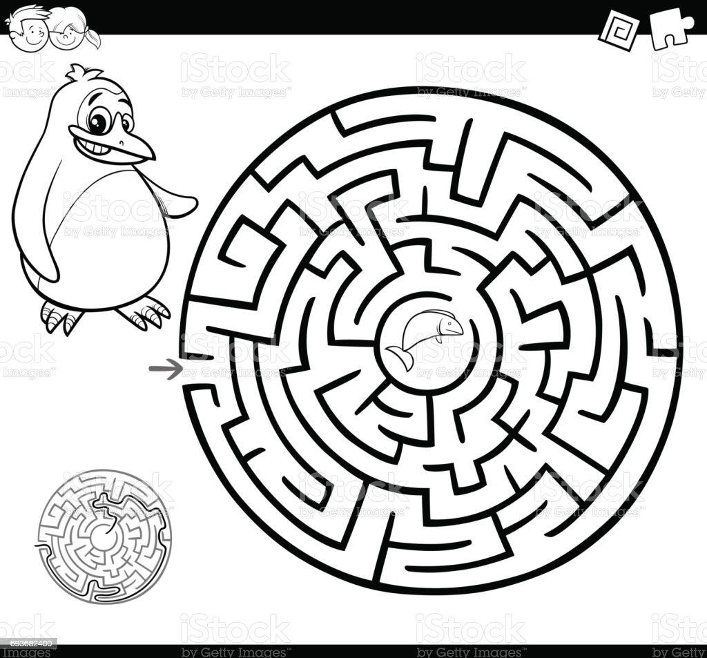 Ilustración de Página Para Colorear De Maze O Labyrinth y más banco ...