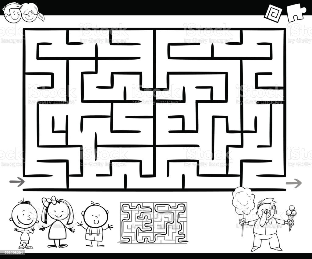 Ilustración de Página Para Colorear Juego Maze O Labyrinth y más ...