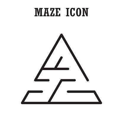 Maze or  labyrinth icon,Triangular shape,isolated on white backg
