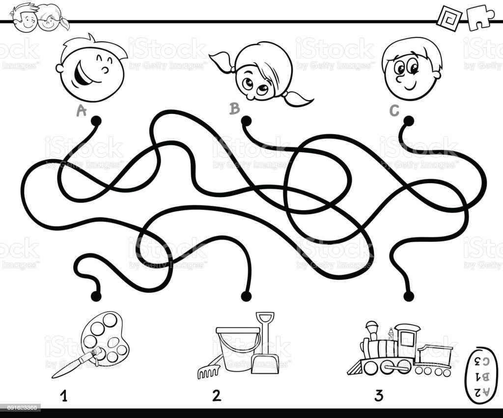 Labirent Yolları Etkinlik Için Boyama Oyunu Stok Vektör Sanatı