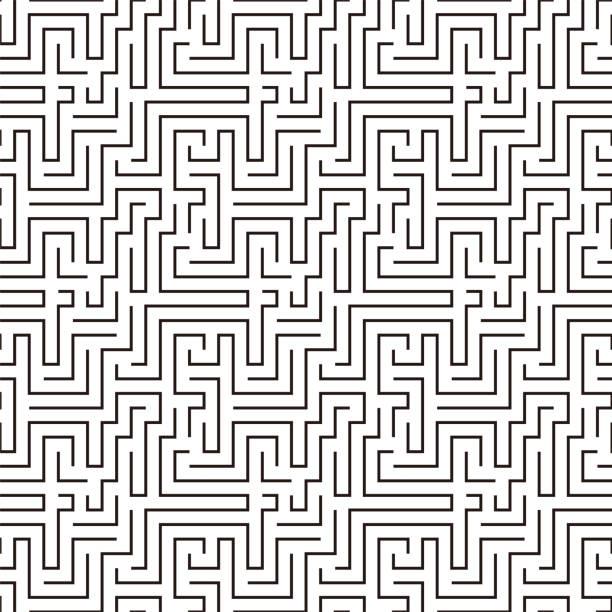 bildbanksillustrationer, clip art samt tecknat material och ikoner med labyrint mönster sömlös, vektor illustration - gränd