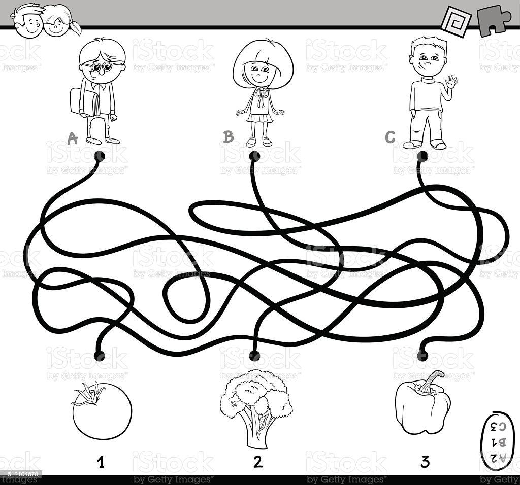 Ilustración De Laberinto Rompecabezas Libro Para Colorear Y Más