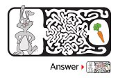 Maze puzzle for kids with rabbit and carrot. Labyrinth illustration