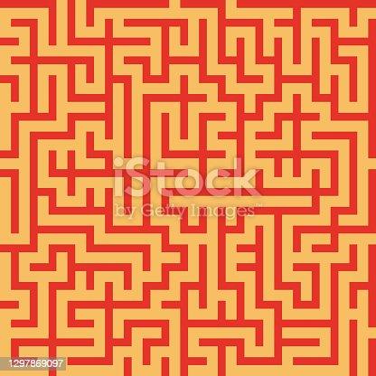 istock Maze seamless pattern. Abstract textile print. Vector illustration. 1297869097