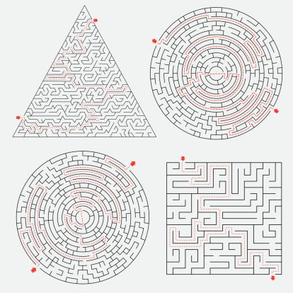 Maze set with solutions