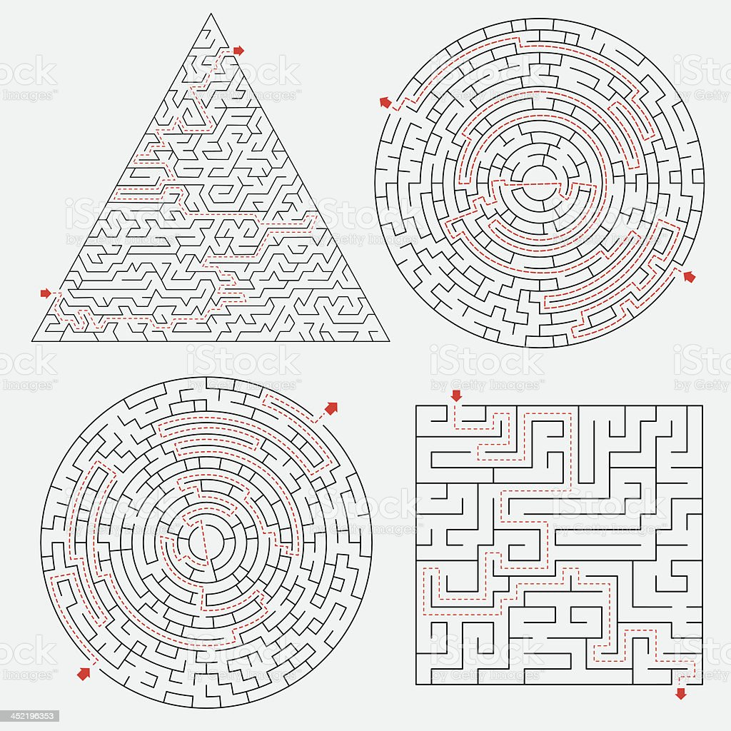 Maze set with solutions vector art illustration