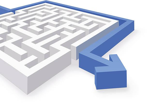 illustrazioni stock, clip art, cartoni animati e icone di tendenza di labirinto soluzione semplice - facilità