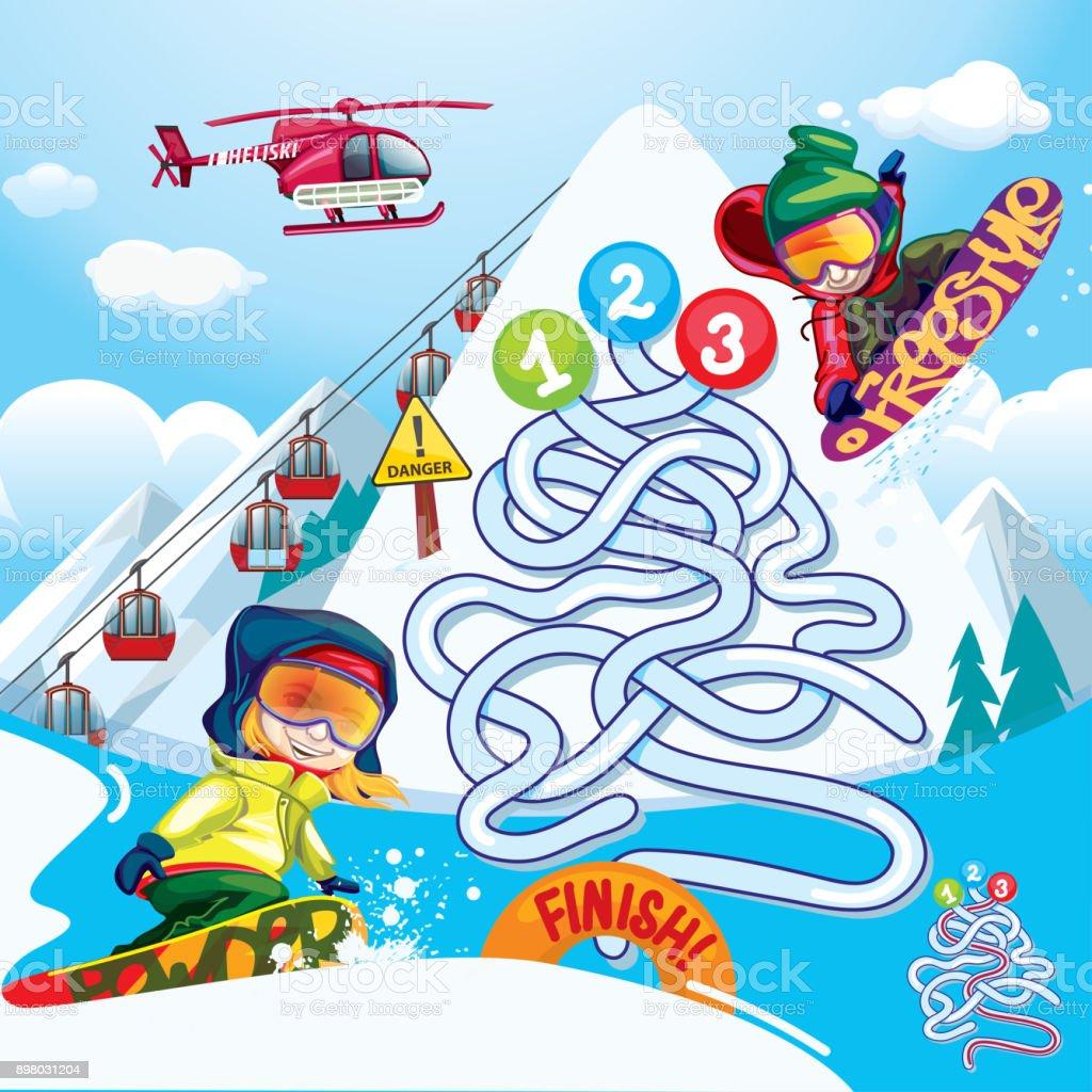 Maze snowboard vector art illustration