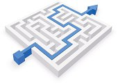 Maze puzzle wise and easy strategy - business concept. Puzzle solved by blue arrow. Vector Illustration.