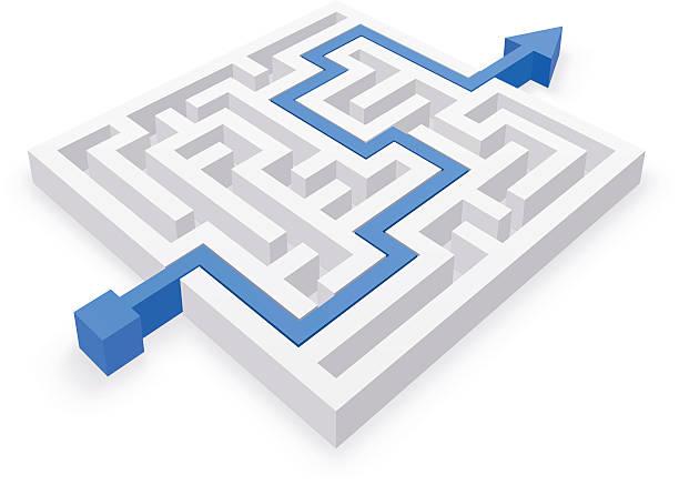 maze lösung einfachen strategie - labyrinthgarten stock-grafiken, -clipart, -cartoons und -symbole