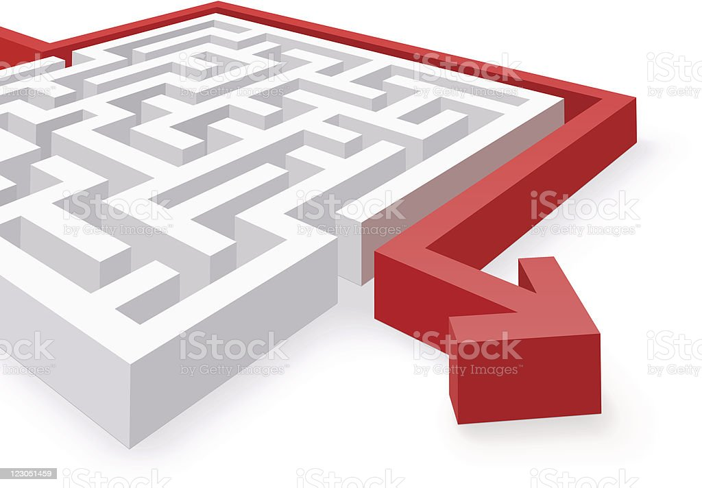 Maze Solution vector art illustration