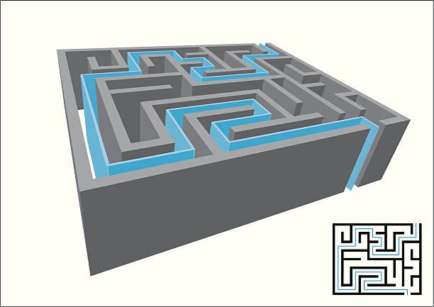 3D Maze, Solved vector art illustration